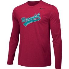 Murrayhill Little League 23: Adult-Size - Nike Team Legend Long-Sleeve Crew T-Shirt - Scarlet